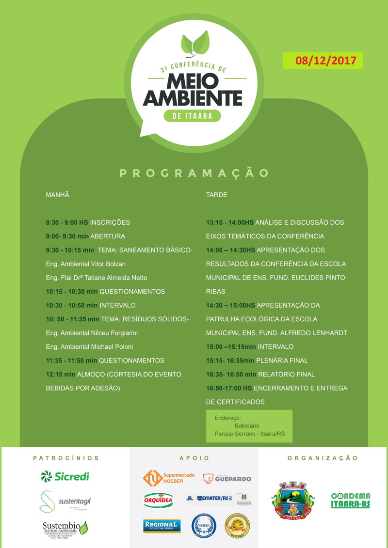Cartaz COnferencia de Meio Ambiente NOVA DATA